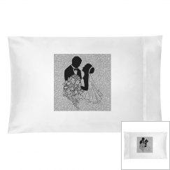 Black Silhouette Bride & Groom Silver