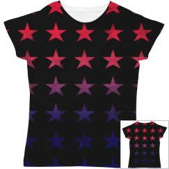 Cute Red And Blue Stars On Black