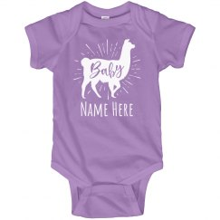 Custom Name Baby Lama Bodysuit