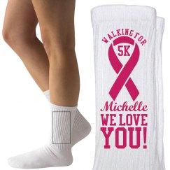 Breast Cancer 5K Walk Socks With Custom Name