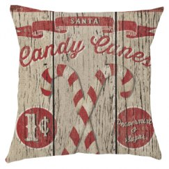 Rustic Candy Canes Christmas Pillow