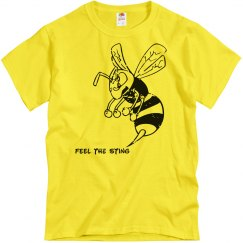 Feel the Sting! Yellow tee w/black Mascot graphic
