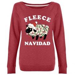 Cute Fleece Navidad Ladies Xmas