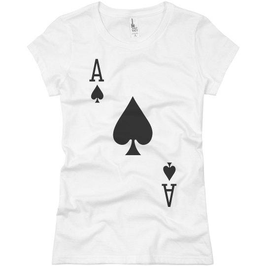 3b4558406b5fb8 Ace Of Spades Costume Ladies Slim Fit Basic Promo Jersey T-Shirt