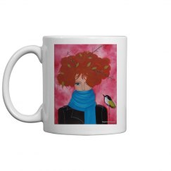 Red hair girl with blue scarf and bird mug
