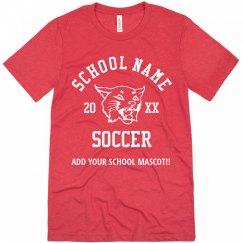 Upload Mascot School Name Soccer T-Shirt