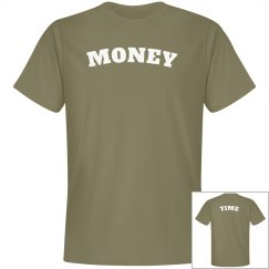Olive Green and White Money Time Tees