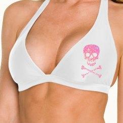 Pink Glitter Skull Bones Bikini Top