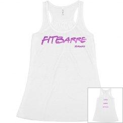 FITBARRE Boxy Tank- White (metallic pink)