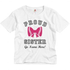 Proud Softball Sister Bow