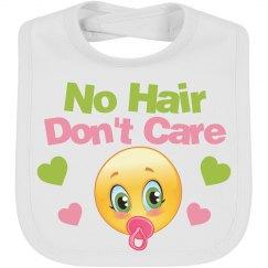 No Hair Don't Care Emoji Bib