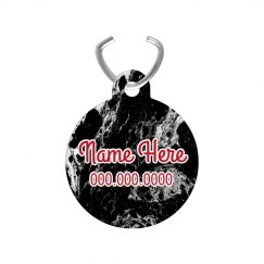 Black Marble Custom Name Pet Tag