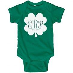St. Patrick's Shamrock Custom Monogram Baby