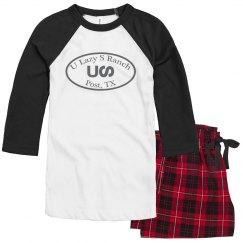 U Lazy S Circle UNISEX Raglan Pajama Set