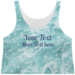 All Over Print Ocean Water With Text