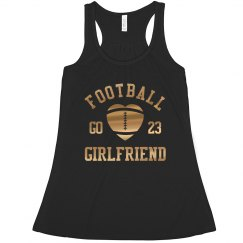 Custom Metallic Gold Football Girlfriend With Number