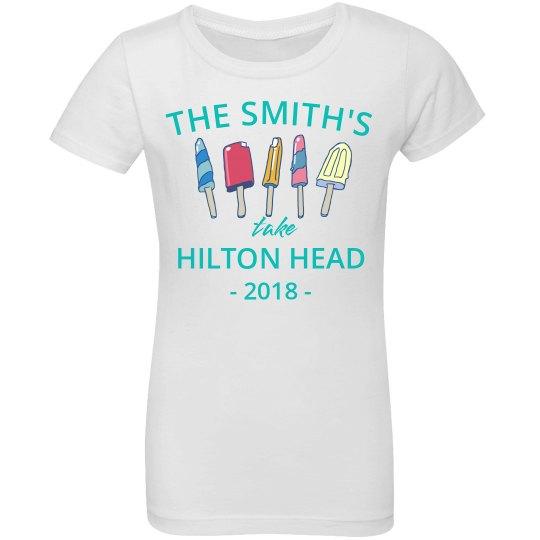 c8ead4fc1899a9 Custom Destination Family Vacation Shirts Girls Ruffle Fine Jersey T-Shirt