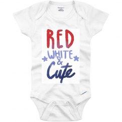Red, White, Cute 4th Onesie