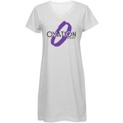 White Dress w/ Purple logo