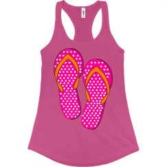 Dotted Flip Flops in Pink