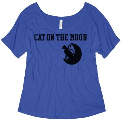 Cat On The Moon Slouchy Shirt