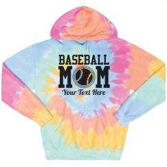 Custom Baseball Mom Tie-Dye Hoodie