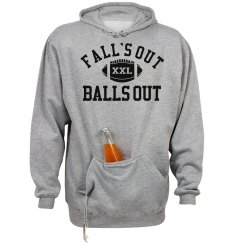 Falls Out Balls Out Football Hoodie With Beer Holder