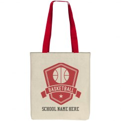 Custom Basketball Badge Tote Bag
