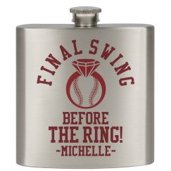 Baseball Bachelorette Party Flask Gift Custom Name