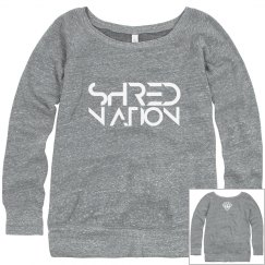 SHRED NATION Wideneck Sweatshirt (Gray + White)