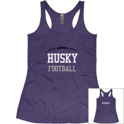 Junior Fit Husky Football Racerback Tank