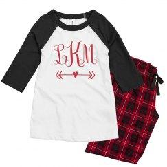 Custom Monogram Kids Valentine Pajamas