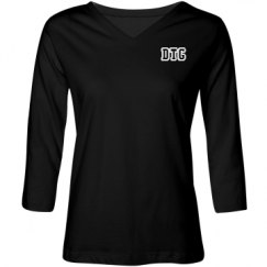 Ladies Relaxed Fit V-Neck 3/4 Sleeve Tee