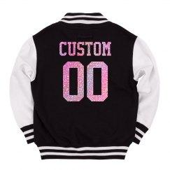 Kids' Custom Letterman Pink Glitter
