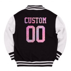 Kids' Custom Letterman Pink Glitter