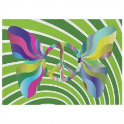 Colorful Groovy Retro Peace Sign Butterfly