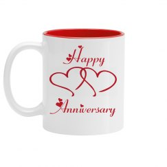 Happy Anniversary Coffee Cup/Mug - Red And White Design