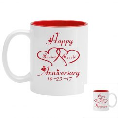 Happy Anniversary Cup/Mug With Names And Date/Two Sided