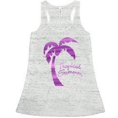 Tropical Summer Fuschia Metallic Palm Tree