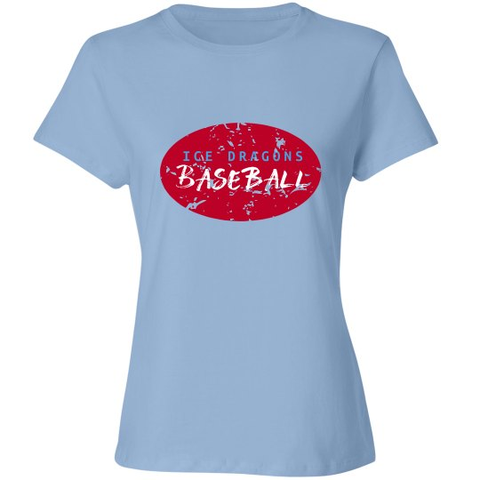 #21 Ladies Relaxed Fit Tee-Port&Co Brand-Red on Blue