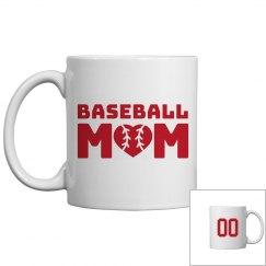 Cute Custom Number Baseball Mom