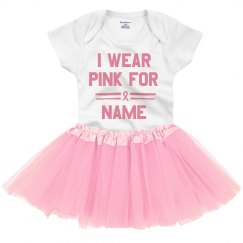 CUSTOM NAME BABY WEARS PINK RIBBON