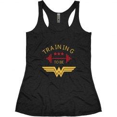Training to be Wonder Woman Racerback
