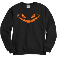 Orange Metallic Evil Grin Face