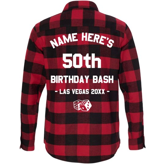Custom 50th Birthday In Las Vegas Unisex Long Sleeve Plaid Flannel Shirt
