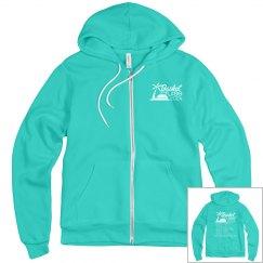 Unisex Zip Hoodie with White Logo & Itinerary