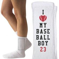 I Love My Baseball Boy Mom or Girlfriend Socks