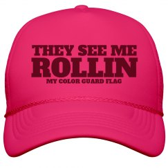 They See Me Rollin Color Guard Flag Hat in Summer Neon