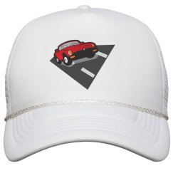 Hat with race car graphic