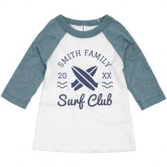 Surf Club Vintage Custom Last Name Toddler Raglan